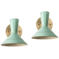 Pair of 1960s Italian Perforated Double-Cone Sconces in the Manner of Arteluce