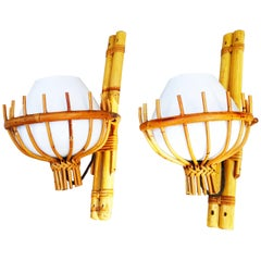 Pair of 1960s Italian Rattan and Murano Glass Sconces
