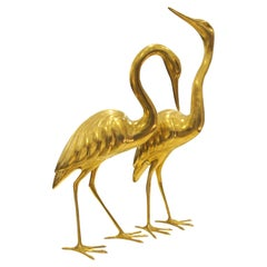 Pair of 1960s Italian Solid Brass Life-Size Free-Standing Heron Sculptures