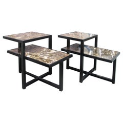 Pair of 1960s Italian Two-Tiered Side Tables with Marrón Emperador Marble Top