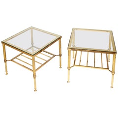 Pair of 1960s Jansen Style Glass and Gilt Metal Occasional Low Tables