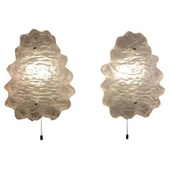 Pair of 1960s J.T Kalmar Iced Frosted Glass Wall Sconces or Lights for Kalmar