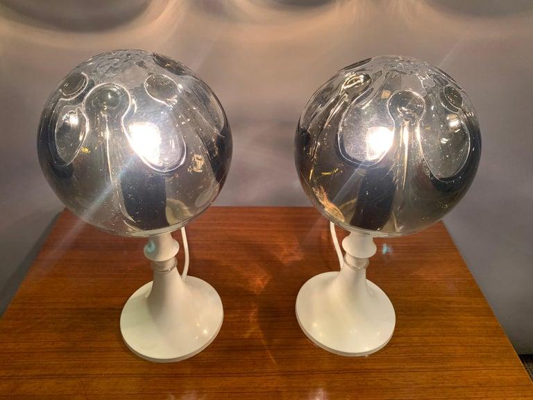 Mid-Century Modern Pair of 1960s Kaiser Leuchten Mazzega Globe Glass Conical Based Table Lamps For Sale