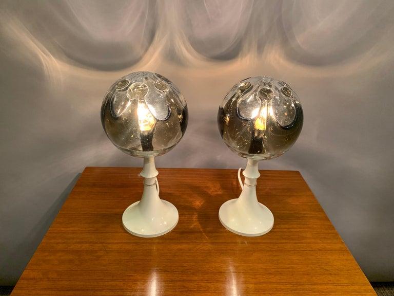 German Pair of 1960s Kaiser Leuchten Mazzega Globe Glass Conical Based Table Lamps For Sale