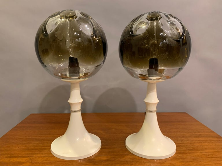 Pair of 1960s Kaiser Leuchten Mazzega Globe Glass Conical Based Table Lamps In Good Condition For Sale In London, GB