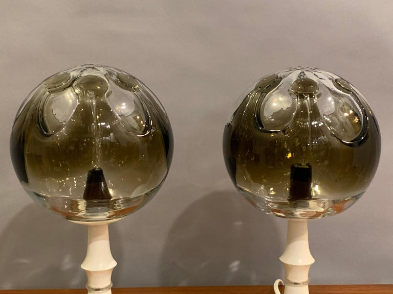 20th Century Pair of 1960s Kaiser Leuchten Mazzega Globe Glass Conical Based Table Lamps For Sale