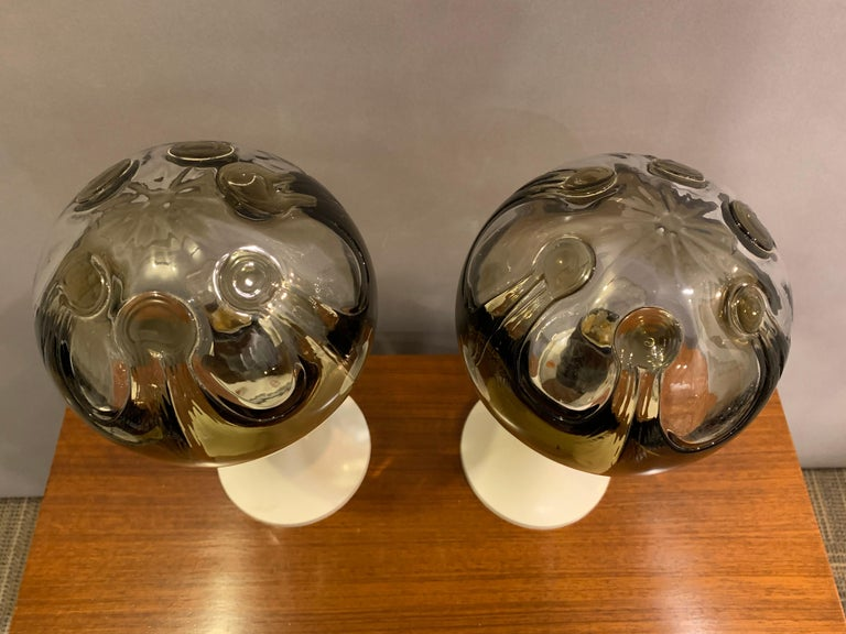 Blown Glass Pair of 1960s Kaiser Leuchten Mazzega Globe Glass Conical Based Table Lamps For Sale