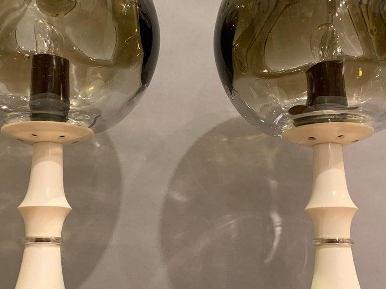 Pair of 1960s Kaiser Leuchten Mazzega Globe Glass Conical Based Table Lamps For Sale 1