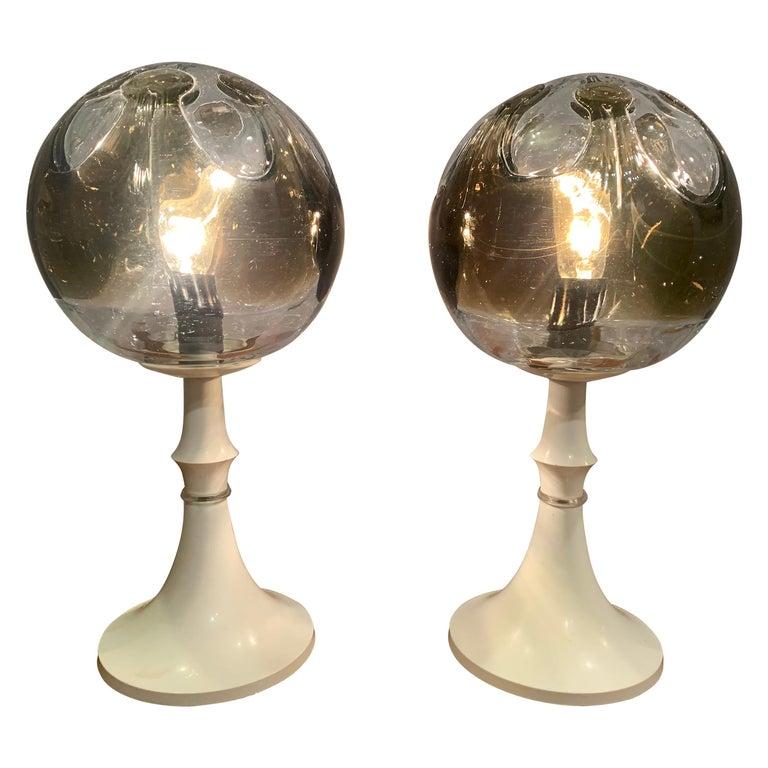 Pair of 1960s Kaiser Leuchten Mazzega Globe Glass Conical Based Table Lamps For Sale