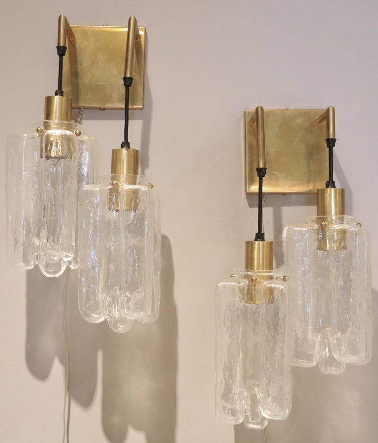Mid-Century Modern Pair of 1960s Kalmar Glass and Brass Sconces For Sale