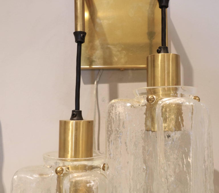 Pair of 1960s Kalmar Glass and Brass Sconces In Good Condition For Sale In Los Angeles, CA