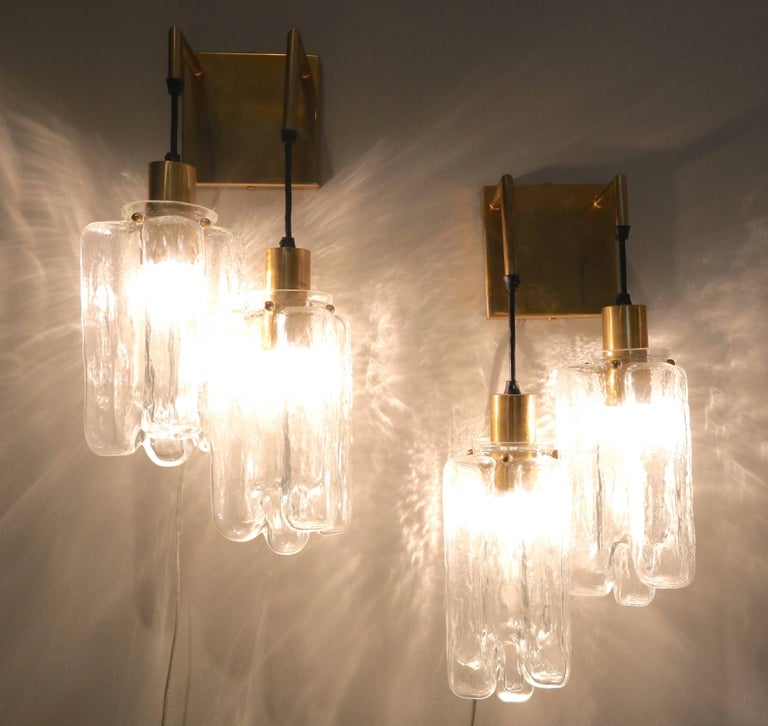 Mid-20th Century Pair of 1960s Kalmar Glass and Brass Sconces For Sale