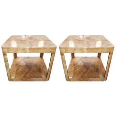Pair of 1960s Karl Springer Square Parchment Side Tables