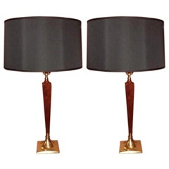 Pair of 1960s Laurel Walnut & Brass Table Lamps