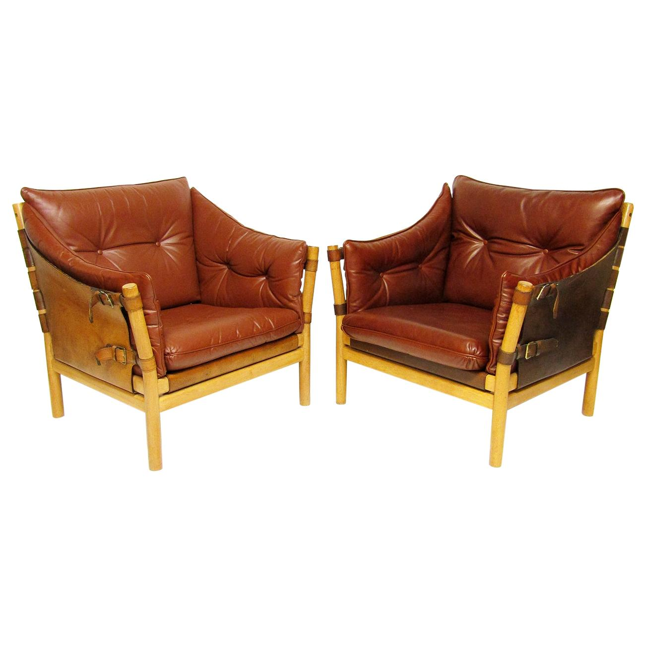 """Pair of 1960s Leather """"Ilona"""" Safari Lounge Chairs by Arne Norell for Aneby"""