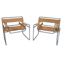 Pair of 1960s Leather & Stainless Wassily Chairs by Marcel Breuer for Gavina