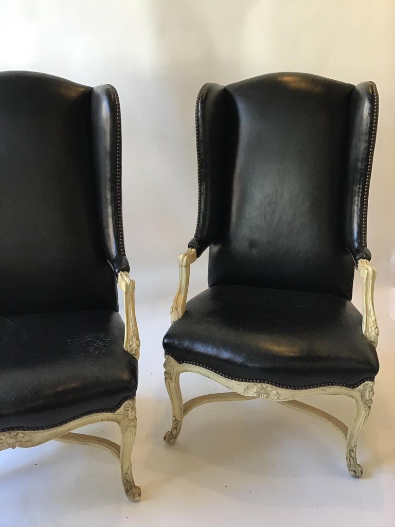 Peachy Pair Of 1960S Lewis Mittman Leather French Style Wingback Chairs Squirreltailoven Fun Painted Chair Ideas Images Squirreltailovenorg