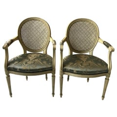 Pair of 1960s Louis XVI Caned Back Armchairs