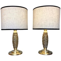 Pair of 1960s Luciano Frigerio Tribute to Capogrossi Brass & Bronze Table Lamps