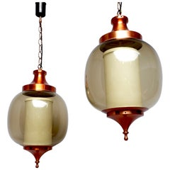 Pair of 1960s 'Lumiere' Pendant' Hanging Lantern Copper & Smoked Glass Lights