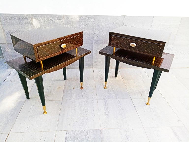 Beautiful and rare pair of 1960s Macassar nightstands, manufactured in France. In very good vintage condition.