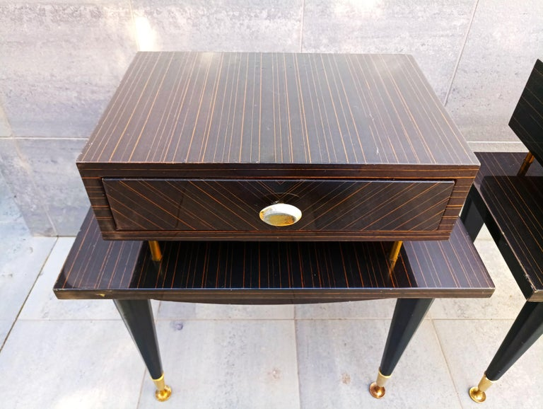 French Pair of 1960s Macassar Nightstands For Sale