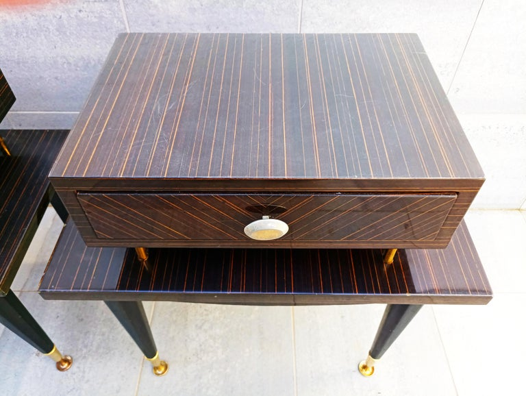 Pair of 1960s Macassar Nightstands In Good Condition For Sale In L'Escala, ES