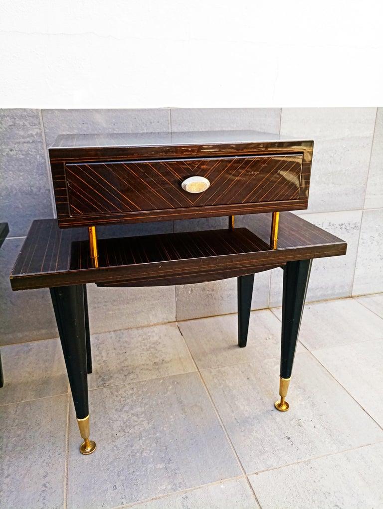 Pair of 1960s Macassar Nightstands For Sale 3
