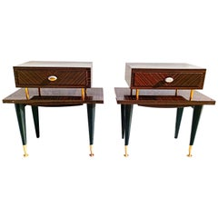 Pair of 1960s Macassar Nightstands