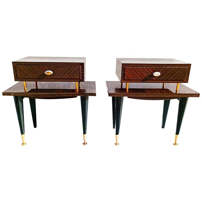 Pair of 1960s Macassar Nightstands For Sale