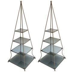 Pair of 1960s Metal Pyramid Étagères with Four Smoked Glass Shelves
