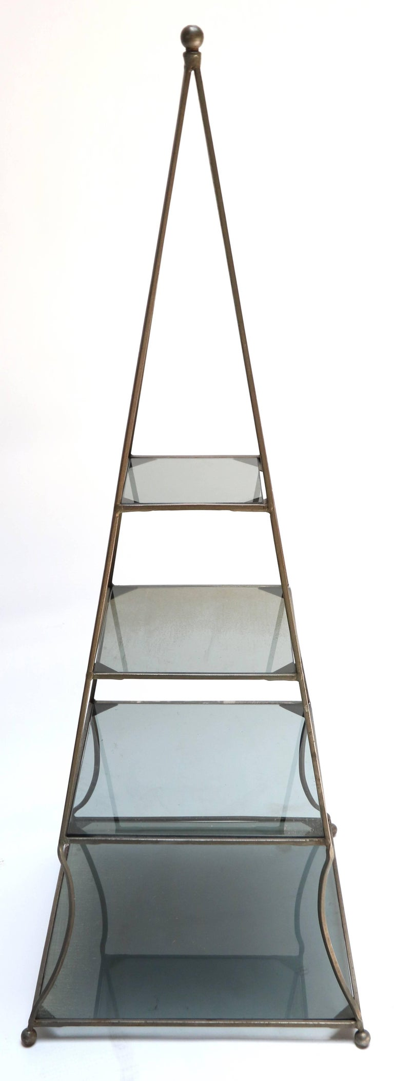 pair of 1960s metal pyramid tag res with smoked glass shelves for sale at 1stdibs. Black Bedroom Furniture Sets. Home Design Ideas