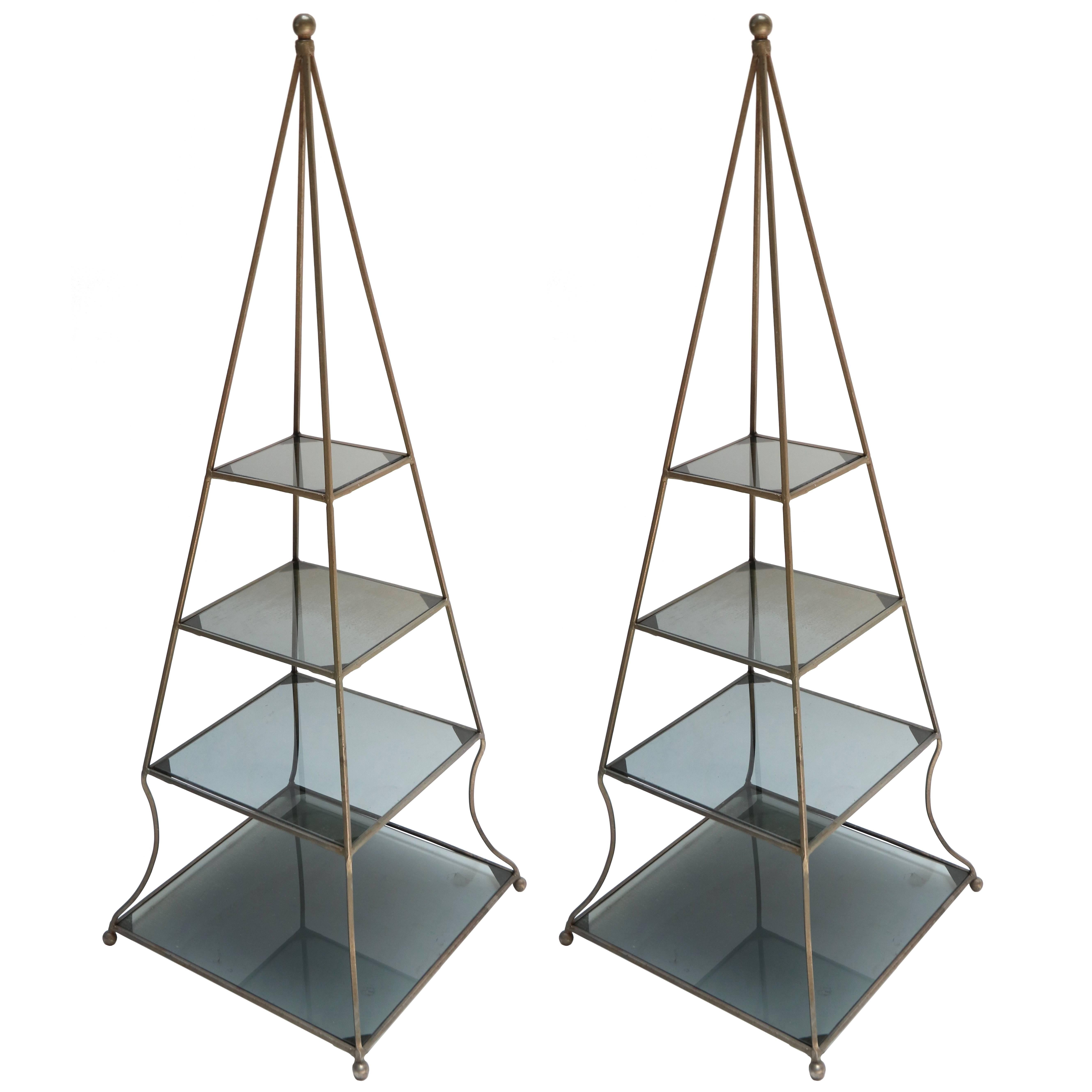 Pair of Gilded Bamboo Metal, Pyramid Shape Bookcases with Glass ...