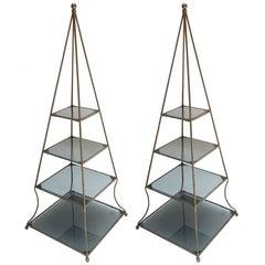Pair of 1960s Metal Pyramid Étagères with Smoked Glass Shelves