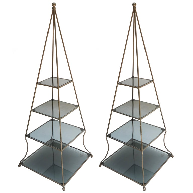 Pair of 1960s Metal Pyramid Étagères with Smoked Glass Shelves For ...