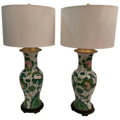 Pair of 1960s Midcentury Asia Export Lotus Leaf Porcelain Table Lamps