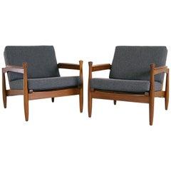 Pair of 1960s Mid Century Modern Afrormosia Teak Grey Lounge Chairs
