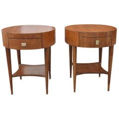 Pair of 1960s Mid-Century Modern Oval End Tables