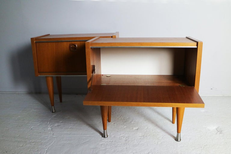 Mid-20th Century Pair of 1960s Midcentury French Bed Side Cabinets For Sale