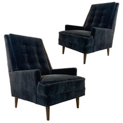 Pair of 1960s Milo Baughman Highback Mohair Midcentury Lounge Chairs James Inc