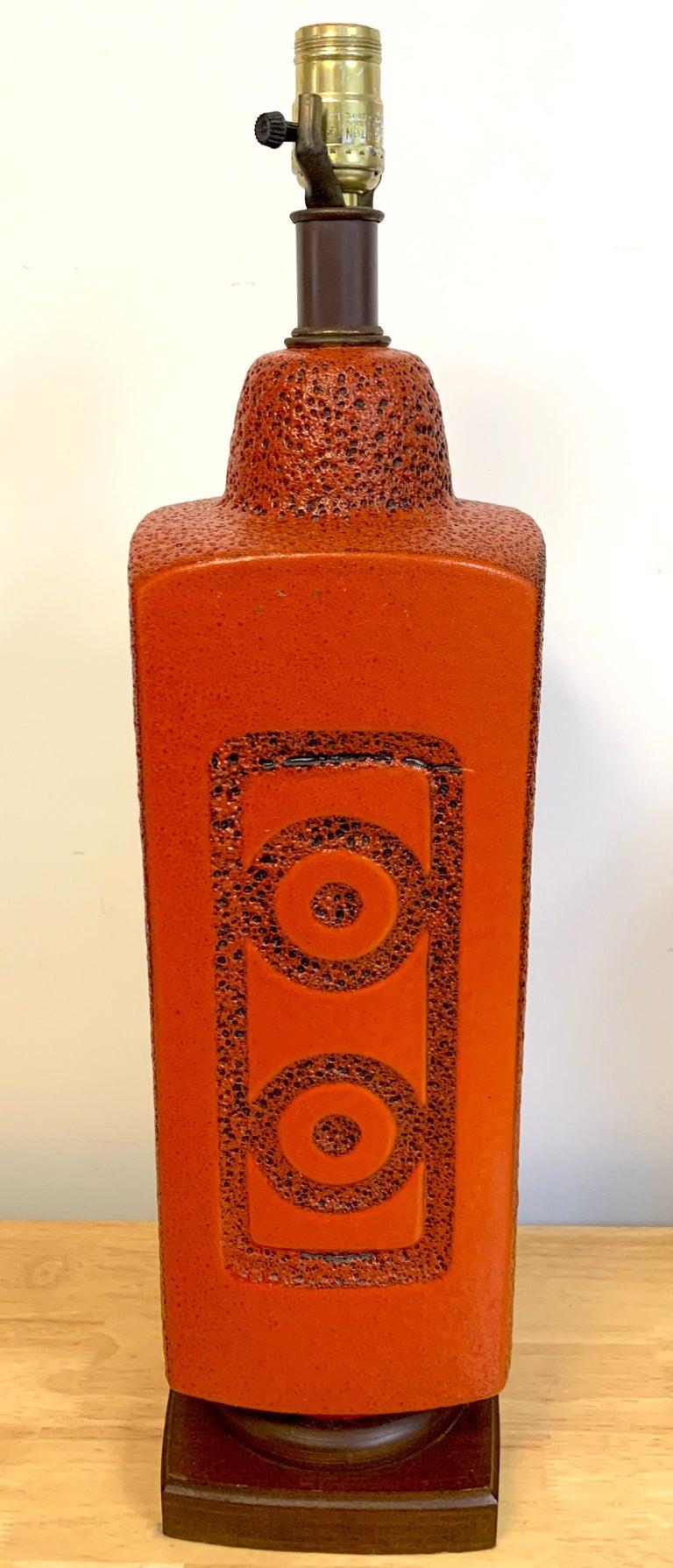 American Pair of 1960s Mod Lava Glazed Orange Lamps For Sale