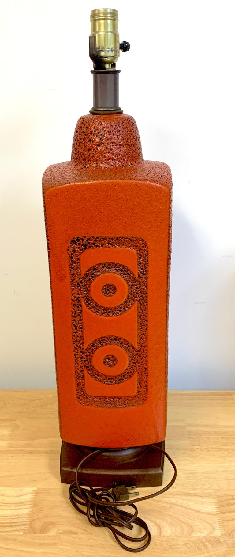 Pair of 1960s Mod Lava Glazed Orange Lamps For Sale 1