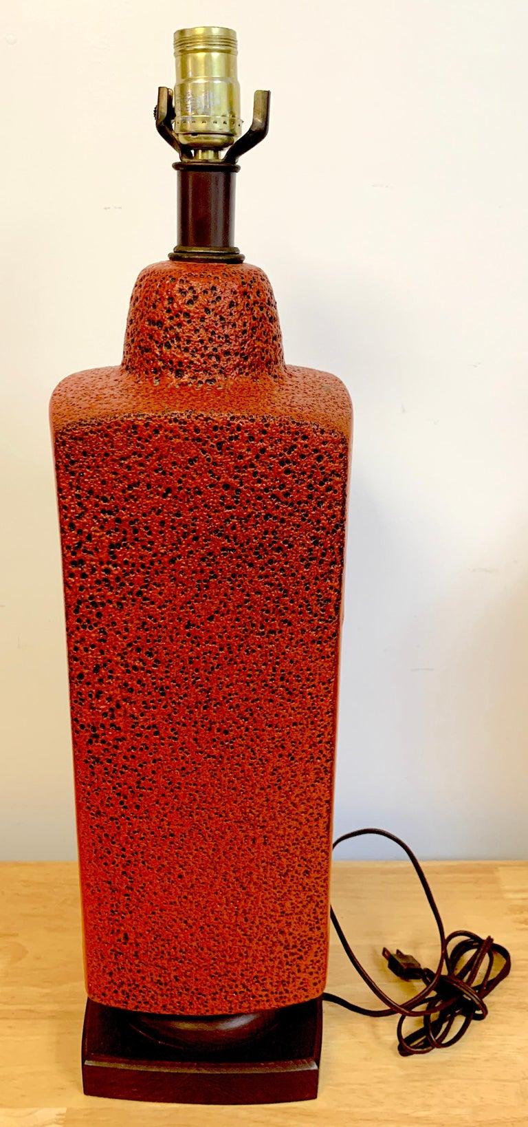 Pair of 1960s Mod Lava Glazed Orange Lamps For Sale 2