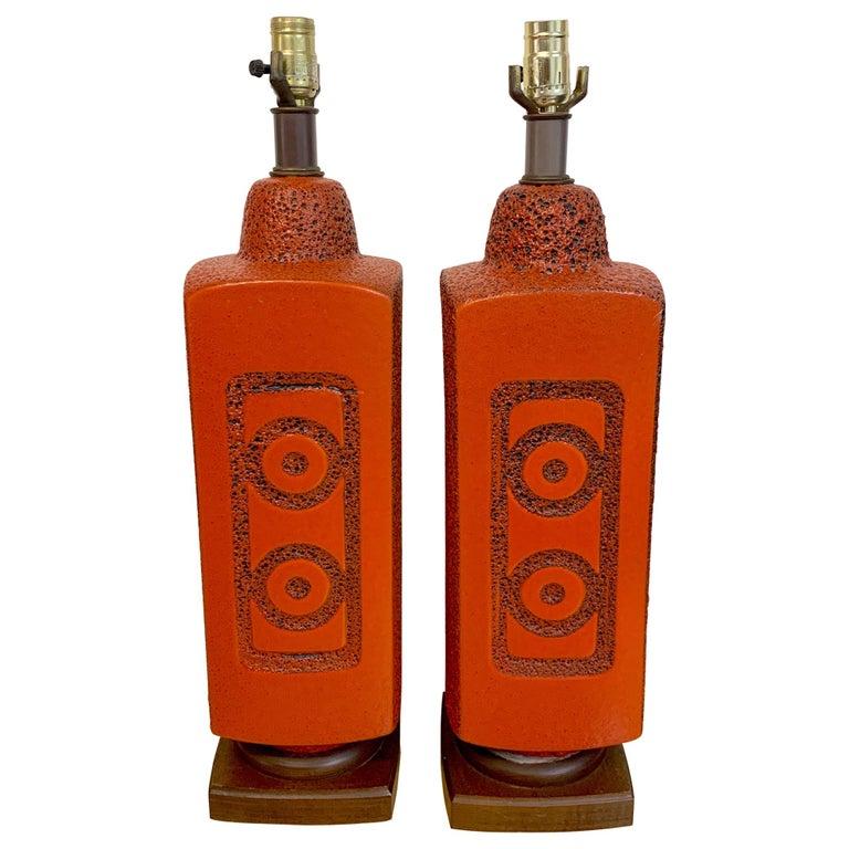 Pair of 1960s Mod Lava Glazed Orange Lamps For Sale