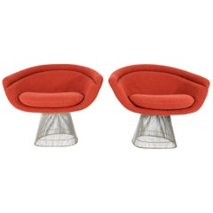 Pair of 1960s Nickel Plated Warren Platner Lounge Chairs