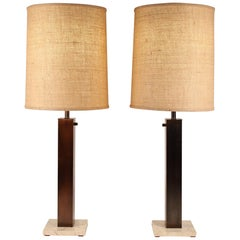 Pair of 1960s Oil Rubbed Bronze and Travertine Table Lamps by Nessen