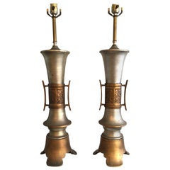 Pair of 1960s Painted Metal and Brass Asian Style Lamps