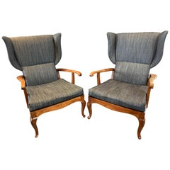 Pair of 1960s Paolo Buffa Walnut and Denim Wingback Chairs