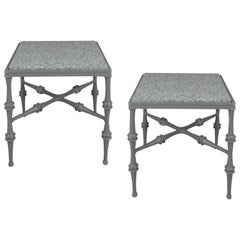 Pair of 1960s Phyllis Morris Granite Top Bamboo Tables