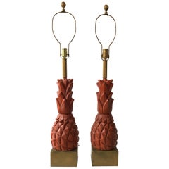 Pair Of 1960s Plaster Pineapple Lamps on Wood Base
